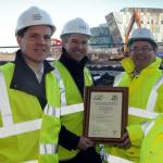 (left to right) Simon Longshaw of Mott MacDonald, Councillor Michael Clare, Lead Member Regeneration and Economy at South Tyneside Council and Will Day of Grant Associates.   They are pictured on site at Harton Quays Park in South Shields holding the CEEQ