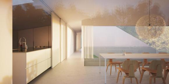 A sliding door enables the residents to benefit from a flexible open plan kitchen as well being able to separate that area from the dining and living area : Image Courtesy Hornung And Jacobi Architecture