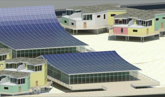 Arverne Dunes proposal: Nature light, dune-plant green roofs and solar power, Image Courtesy © ShortList_0 Design Group