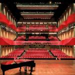 Image Courtesy ©  Duccio Malagambar, 900 seat Multifunctional Theater view from stage to auditorium (with piano)