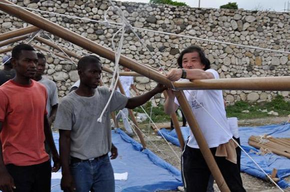 Paper Emergency Shelter for Haiti, Port-au-Prince, Haiti, 2010, Photo by Shigeru Ban Architects