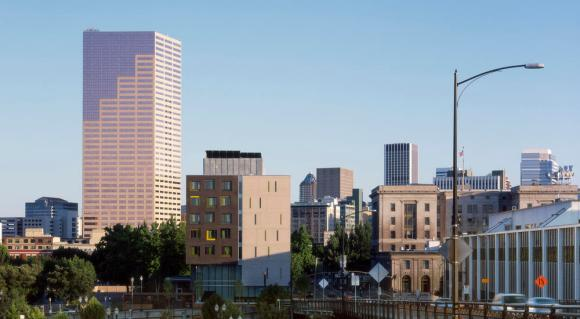 North view of Bud Clark Commons, looking downtown from Portland's central train station. - Photo Credit: Sally Schoolmaster