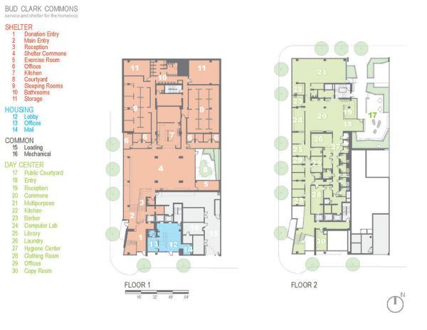 Floor plan for floors 1-2. - Photo Credit: Holst Architecture