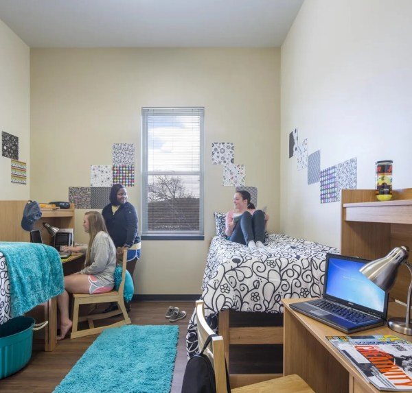 Space is intentionally limited in the living units at The Towers in order to bring freshmen out of the rooms into common areas where they can socialize and build a sense of community.,Image Courtesy © Jonathan Hillyer