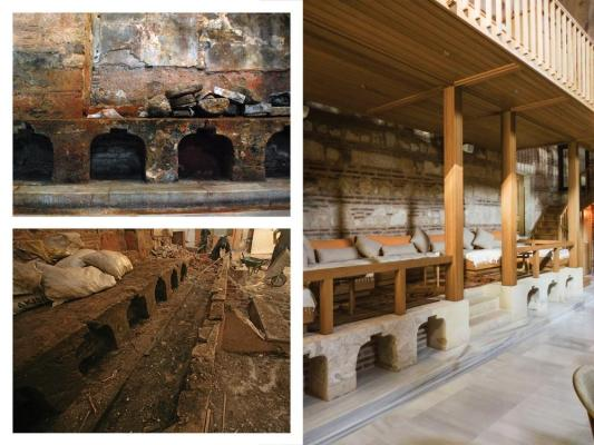 Restoration of the Nalinlik (traditional shoe storage) and 	Sedir (seating area ), Image Courtesy © Ergin Iren (old), Ahmet Ertug (new)