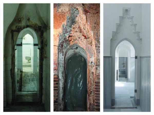 Restoration of the doors from tepidarium to caldarium, Image Courtesy © Sibel Ozkars