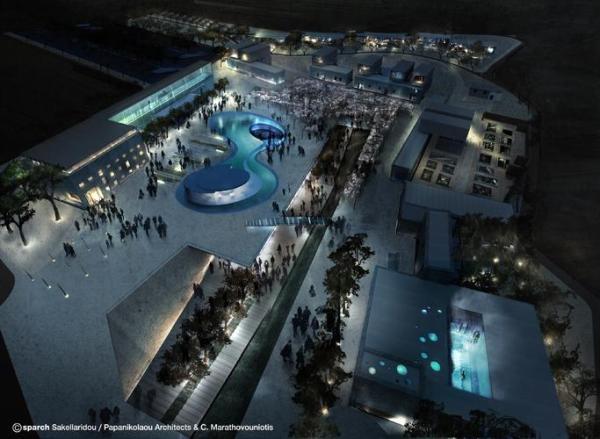 General Νight View, Image Courtesy © sparch Sakellaridou/ Papanikolaou Architects & Ch. Marathovouniotis