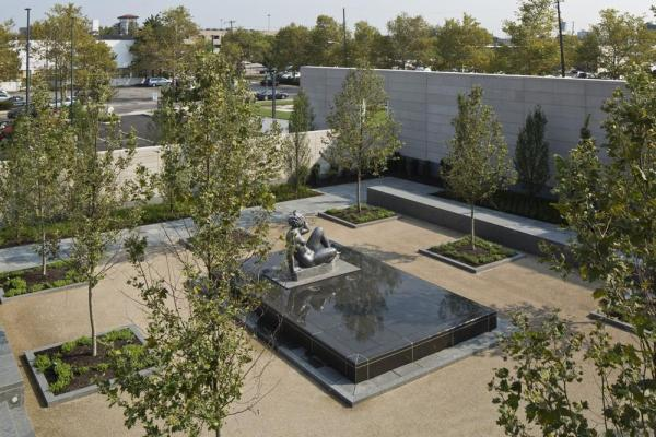 Columbus Museum of Art's new sculpture garden featuring Aristide Maillol's sculpture The Mountain as seen from the terrace located off the Special Event Pavilion, Image Courtesy © Brad Feinknopf