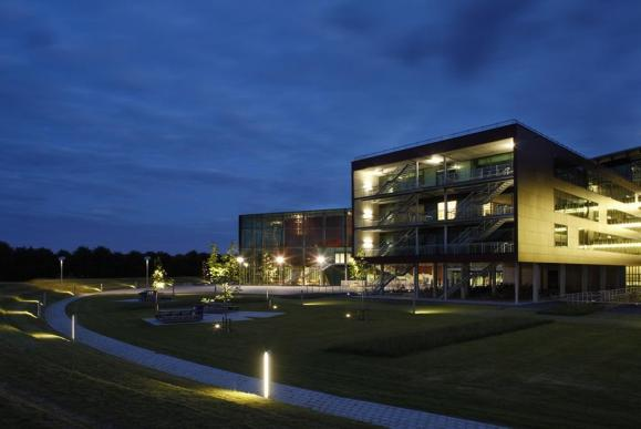 Campus east side evening view , Image Courtesy © Toon Grobet
