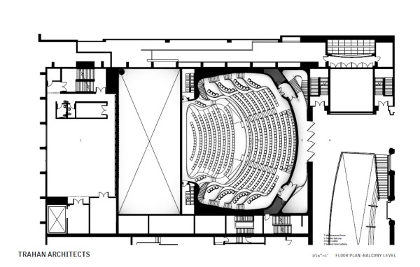 Floor Plan – Balcony Level, Image Courtesy © Trahan Architects
