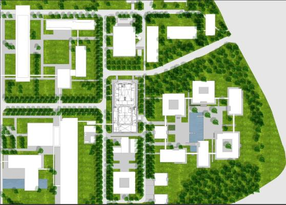 Situation plan of DIFFER on the campus of TU Eindhoven, Image Courtesy © Ector Hoogstad Architecten