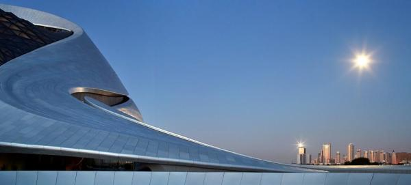 The façade in contrast to the Harbin skyline, Image Courtesy © Hufton+Crow