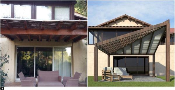 Decommissioning and replacement of the pergola with wooden gazebo trapezoidal shape, Image Courtesy © Proestos DESIGN