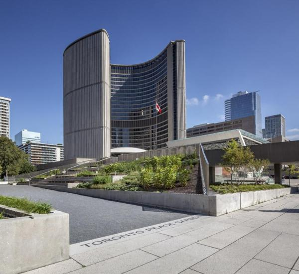 Looking towards City Hall from the south threshold, Image Courtesy © Steven Evans / © PLANT Architect Inc.