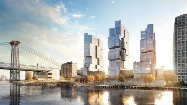 View of 416-420 Kent towers from the East River, south of Williamsburg Bridge,Rendering © bloomimages