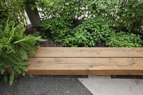 Custom bench using salvaged wood, Image Courtesy © Peter Legris Photography