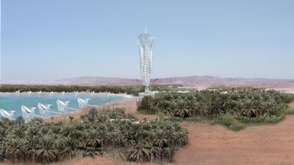 Overlooking Al Ain Lake and the oasis surroundings the tower rests to the ground on pilotis which minimizes impacts on coast line. Likewise, offshore bungalows frees the littoral from construction, Image Courtesy © Philippe Barriere Collective (PB+Co)
