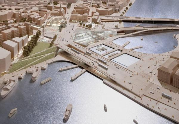 Public exhibition model of the New Slussen design, Image Courtesy © Richard Davies