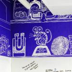 Feature wallpaper in The Lab was specially-created in a blueprint style by artist Claudia Stocker on a lab-rat theme, Image Courtesy © Gareth Gardner