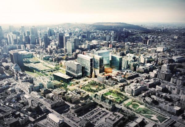 The New CHUM in Montreal's urban context, Image Courtesy © CannonDesign + NEUF architect(e)s
