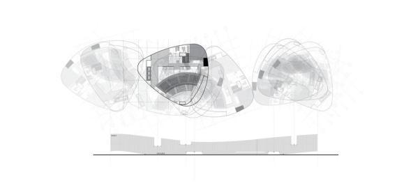 Unrolled elevation of the amphitheater, Image Courtesy © CannonDesign + NEUF architect(e)s