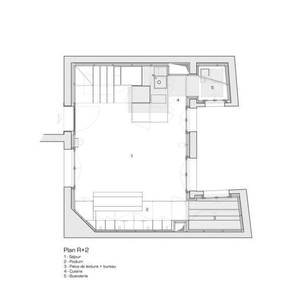 Second floor plan, Image Courtesy © L'atelier miel and Mickaël Martins Afonso, Designer