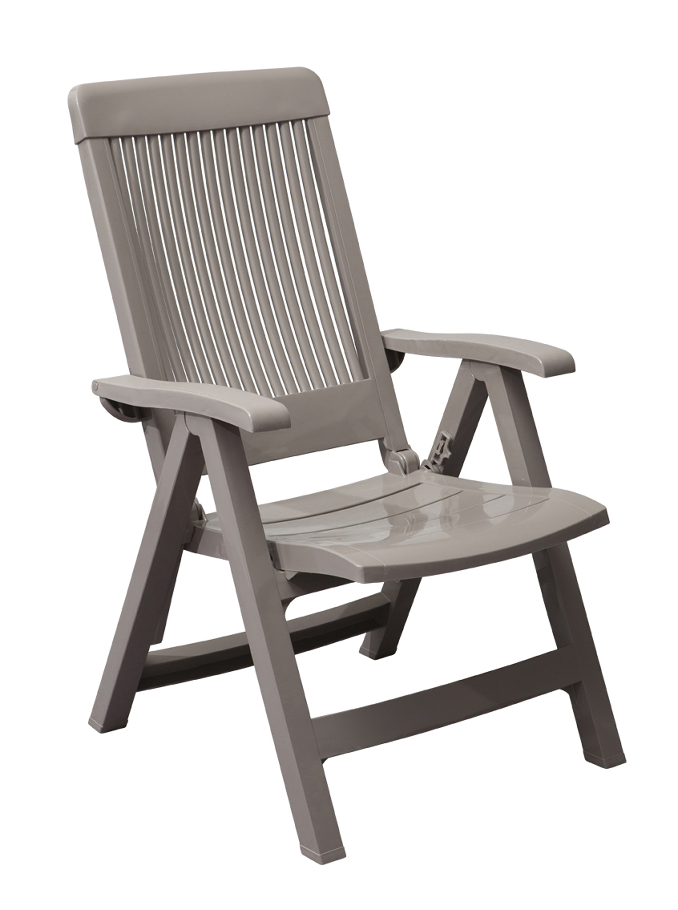 Fauteuil De Jardin Taupe Fidji Garden Easy Chair With Adjustable Backrest | Grosfillex