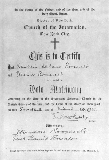 Marriage Certificate of Eleanor and Franklin Roosevelt