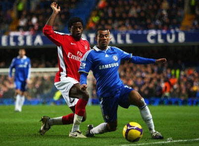 Alex Song Ashley Cole of Chelsea is challenged by Alex Song of Arsenal during the Barclays Premier League match between Chelsea and Arsenal at Stamford Bridge on November 30, 2008 in London, England.  (Photo by Mike Hewitt/Getty Images) *** Local Caption *** Ashley Cole;Alex Song