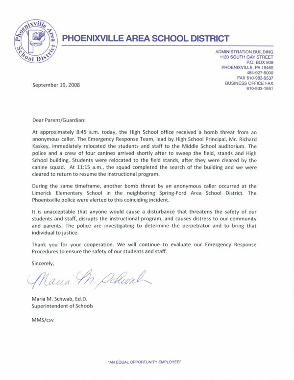 The Phoenix Files Letter to The Parents of Students of Phoenixville