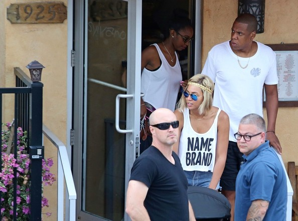 Beyonce Knowles and Jay Z take their daughter, Blue Ivy Carter, out to lunch at Silvano on August 15, 2013.