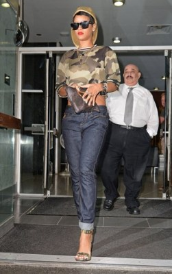 Singer Rihanna leaving her hotel and arriving at the Mercer Hotel in New York City, New York on August 14, 2013.