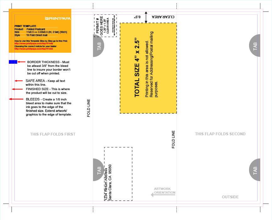 Find a Printing Template  Printpapa - tri fold mailer template