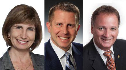 Les trois candidats principaux dans Ottaw-Vanier, Nathalie Des Rosiers (Parti libéral de l'Ontario), André Marin (Parti PC de l'Ontario) et Claude Bisson (Nouveau Parti démocratique).  Montage #ONfr