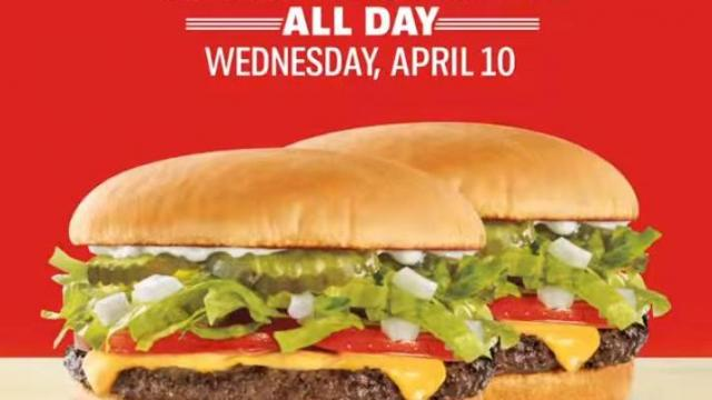 Sonic Drive-In 1/2 price cheeseburgers all day Wednesday, April 10