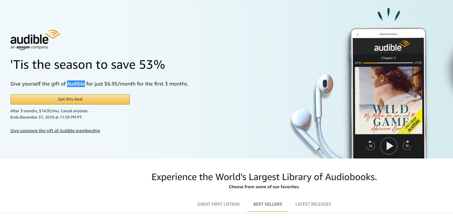 Amazon Audible Login Audible Membership 53 Off For The First 3 Months Wral