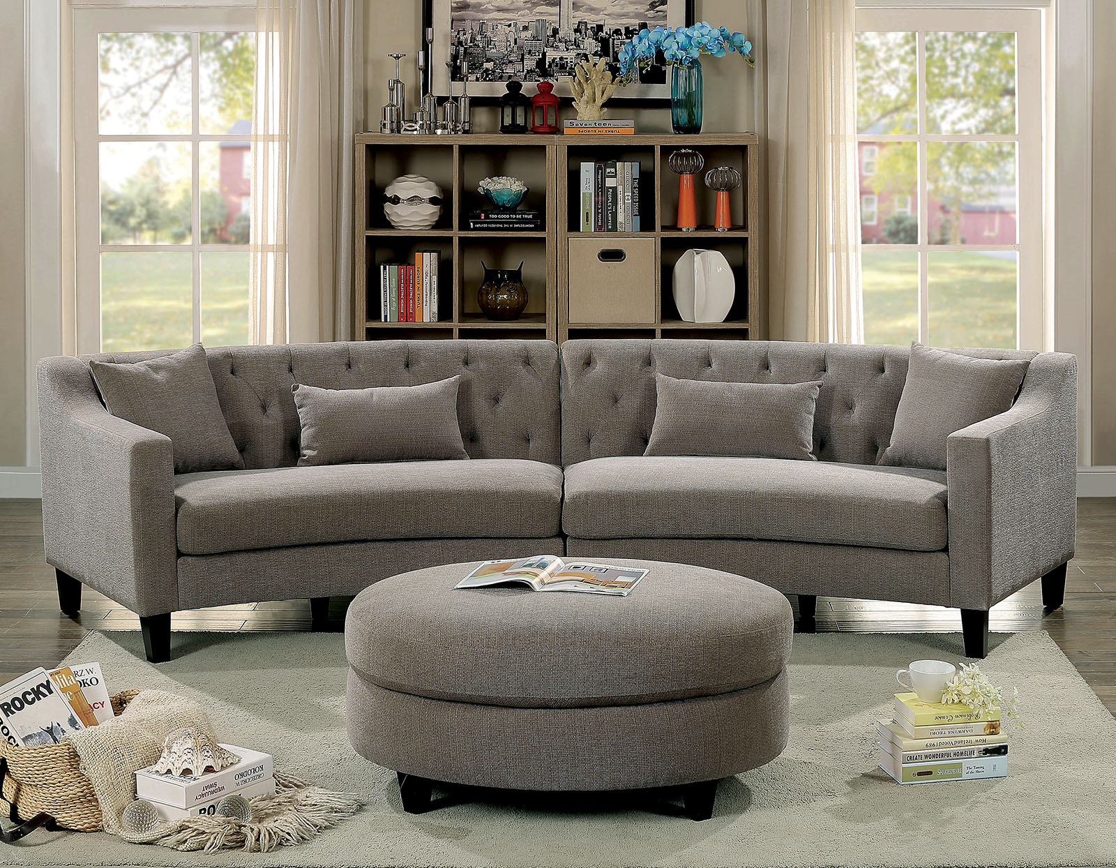 Grey Half Couch Furniture Of America 6370 Rounded Grey Tufted Sectional Sofa