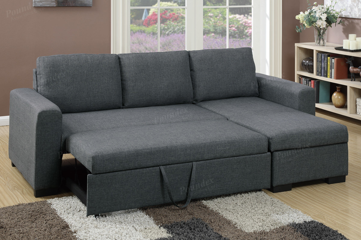 Fabric Sectional Sofas Canada Blue Grey Fabric Convertible Sectional By Poundex F6931