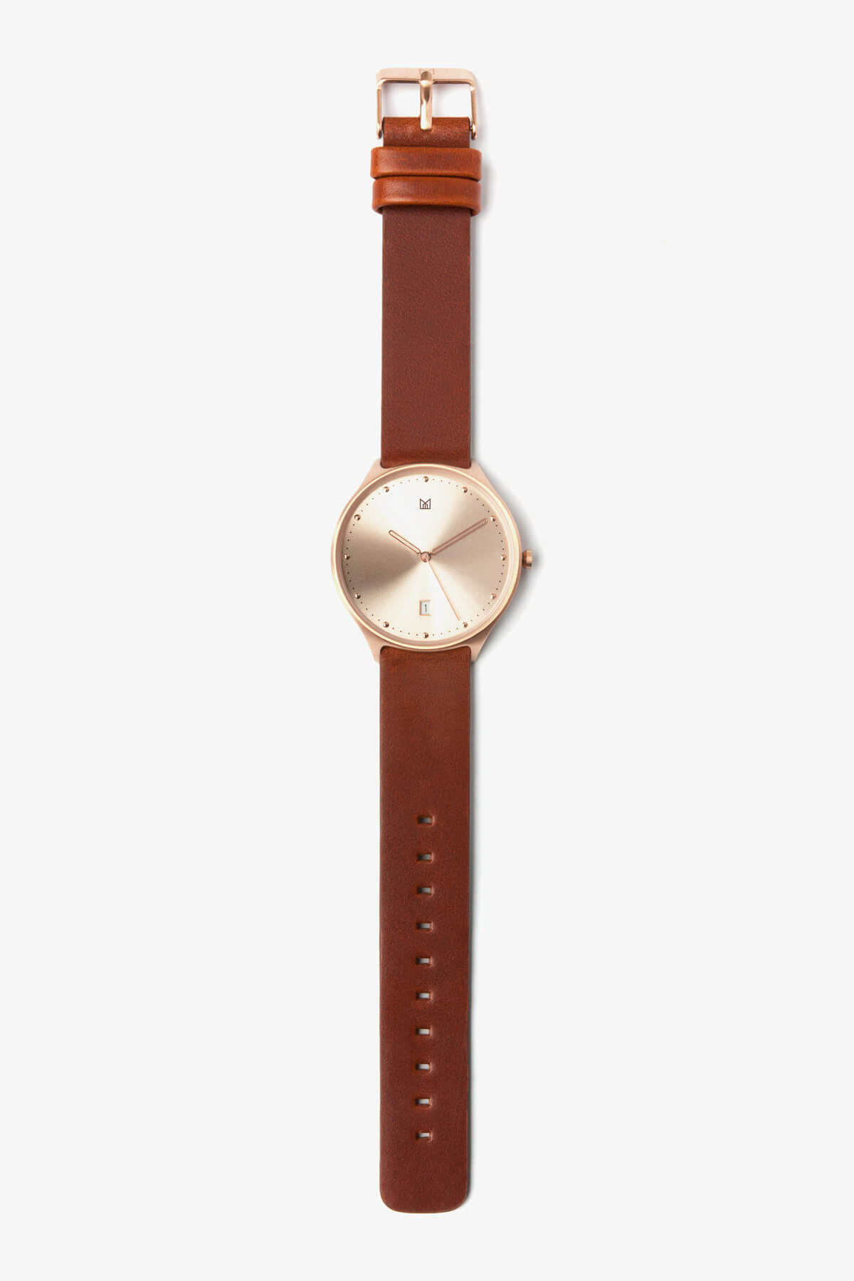Leather Strap Rose Gold Watch Quick Release Brown Leather Strap Rose Gold Buckle