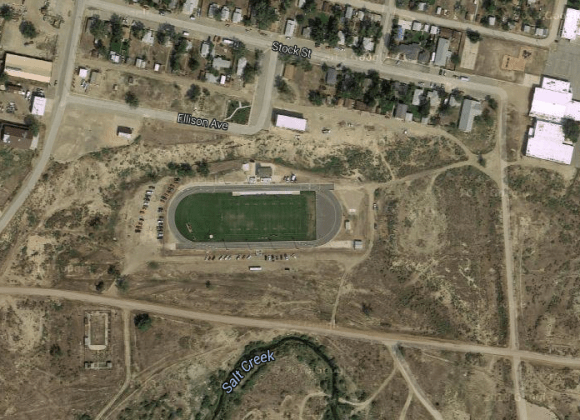 Aerial view of the Midwest High School football field. Screenshot from Google Maps.