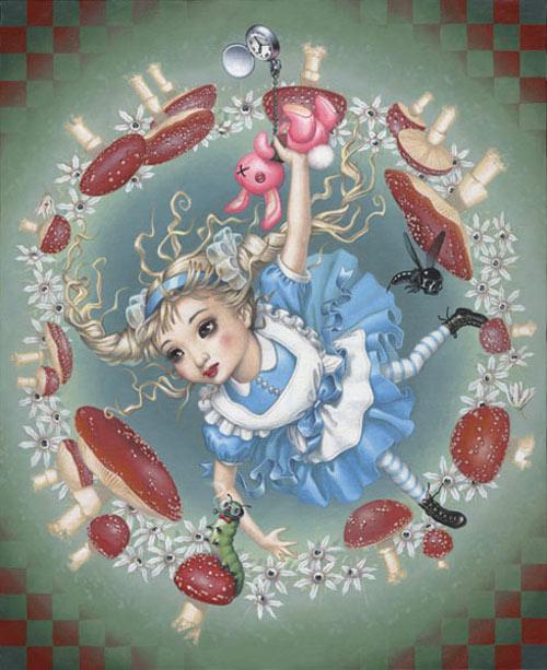 Falling Down The Rabbit Hole Wallpaper Trevor Brown S Alice Artwork