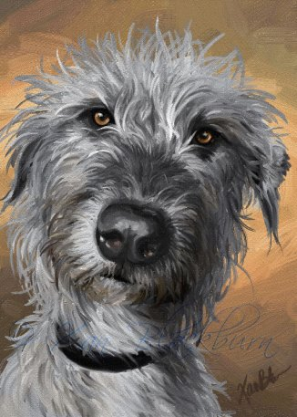 Roheen Irish Wolfhound digital painted portrait