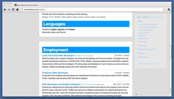 Free Web Developer  Designer Sample CV Resume (microformats enabled)