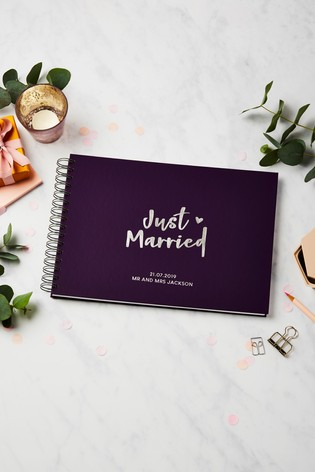 Buy Personalised Just Married Guest Book by Martha Brook from the