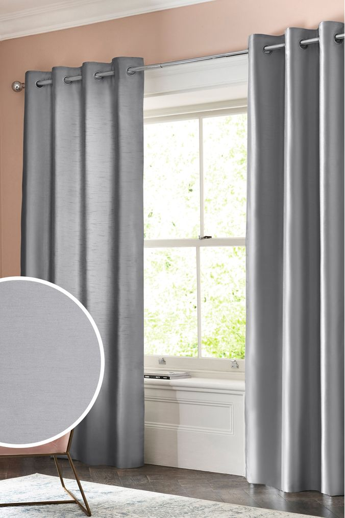 Grey Thermal Curtains Next Faux Silk Eyelet Blackout Thermal Curtains Grey 95 00
