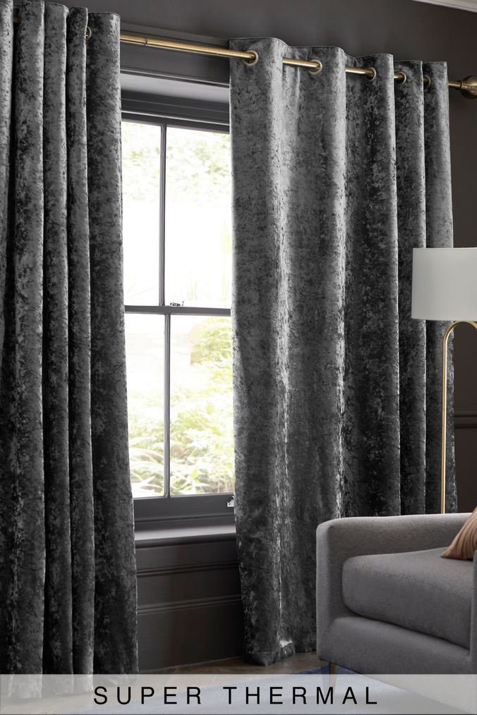Grey Thermal Curtains Next Crushed Velvet Eyelet Super Thermal Curtains Grey 135 00