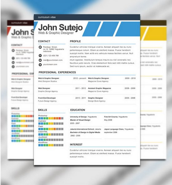 Download 35 Free Creative Resume / CV Templates - XDesigns - Free Graphic Design Resume Templates
