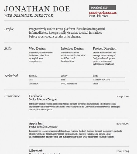 Download 35 Free Creative Resume / CV Templates - XDesigns - Best Cv Format Pdf