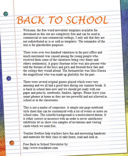 15 Free Microsoft Word Newsletter Templates for Teachers  School - weekly newsletter template