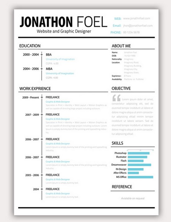 Download 35 Free Creative Resume / CV Templates - XDesigns - resume templates creative